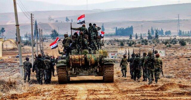 حرکت کاروان ارتش سوریه به سمت نیروهای ترکیه