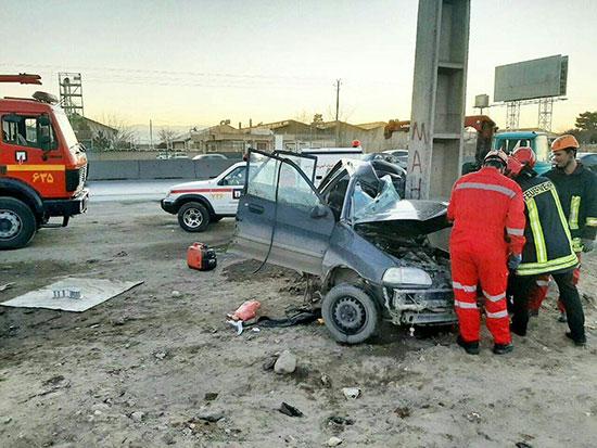 مرگ دلخراش راننده جوان در جاده مشهد