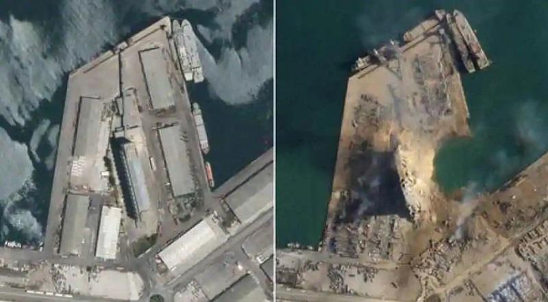 مقایسه وضعیت بندر بیروت قبل و بعد انفجار