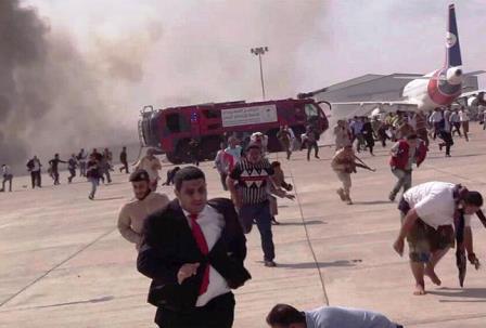 انفجار در فرودگاه یمن در لحظه ورود منصور هادی