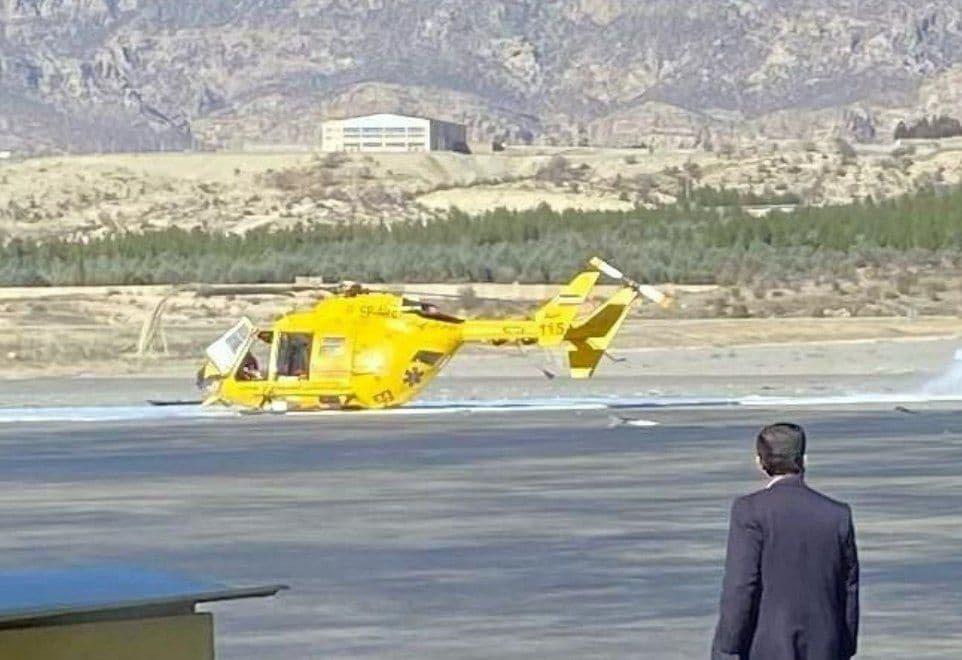 تصویری از بالگرد اورژانس ایلام که امروز دچار سانحه شد