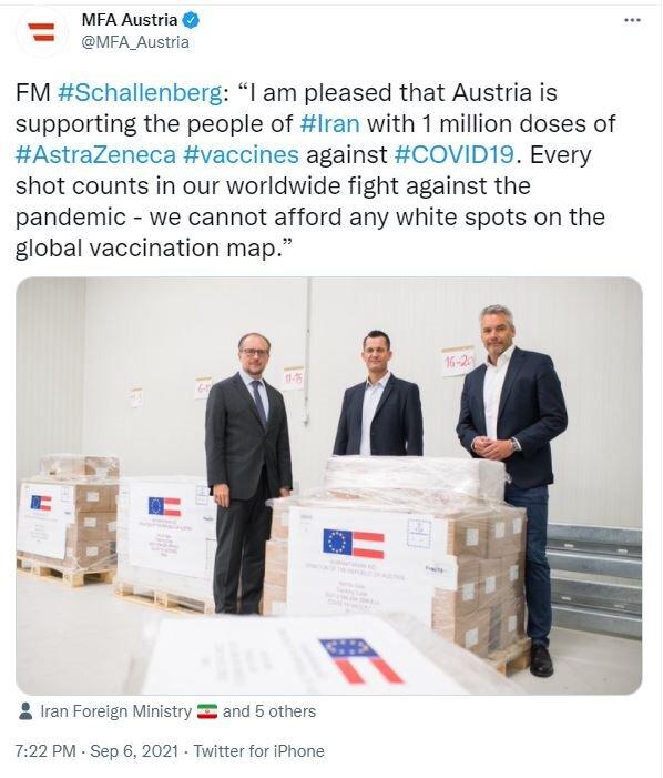 اتریش یک میلیون دُز واکسن آسترازنکا به ایران اهدا میکند