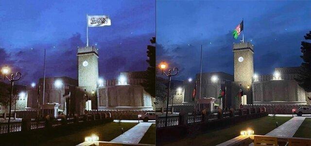 پرچم طالبان در کاخ ریاستجمهوری افغانستان بالا رفت